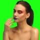 Beautiful Brunette Face  Portrait on Green Screen