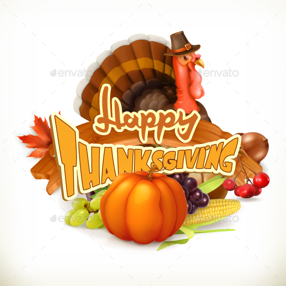 Happy Thanksgiving Invitation 3D Vector Logo