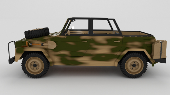 VW Type 181 with interior Army - 3DOcean Item for Sale