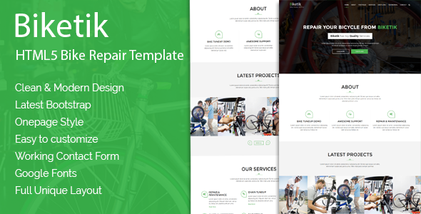 Biketik – HTML5 Bike Repair & Service Template