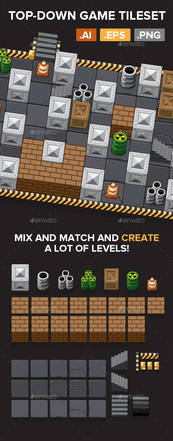 Graphicriver Top-Down Game Tileset 19263336