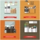 Vector Set of Kitchen Interiors with Refrigerator