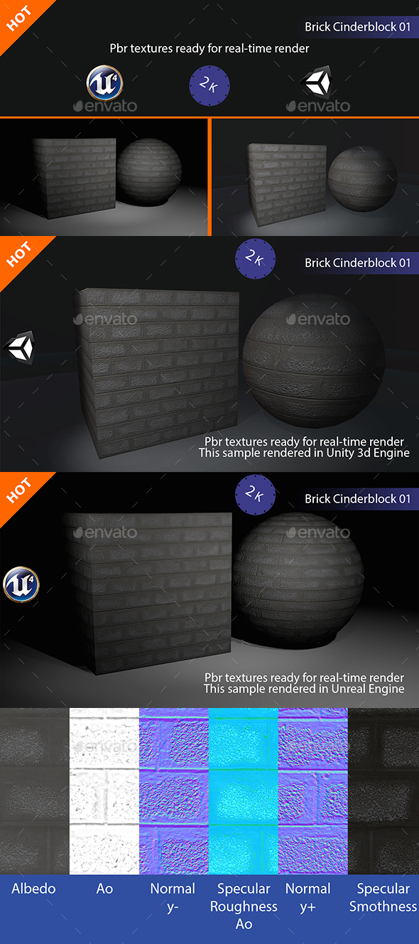 PBR Brick Cinderblock 01 Texture - 3DOcean Item for Sale