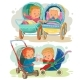 Set Illustrations of Little Kids in a Baby