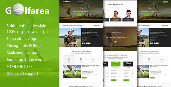 Golfarea Sports School, Classes Landing Template