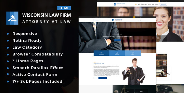 Wisconsin : Attorney, Lawyer and Law Agency HTML Template