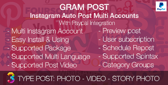 Download Gram Post - Instagram Auto Post Multi Accounts with Paypal integration nulled download