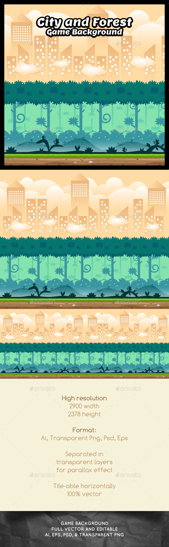 Graphicriver City and Forest Game Background 19265259