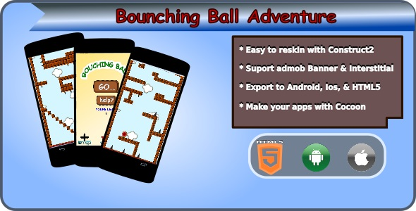 Bouncing Ball Adventure HTML5 Mobile Game + Admob