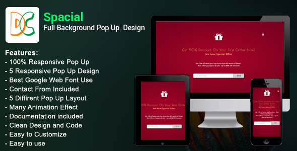 Spacial - Full Background Pop Up Design - CodeCanyon Item for Sale