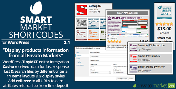 Smart Market Shortcodes - CodeCanyon Item for Sale
