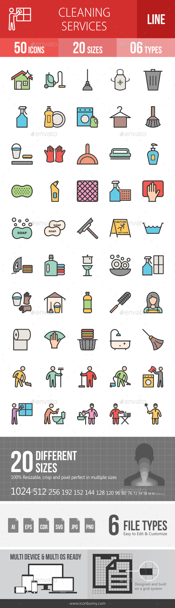 Cleaning Services Line Filled Icons