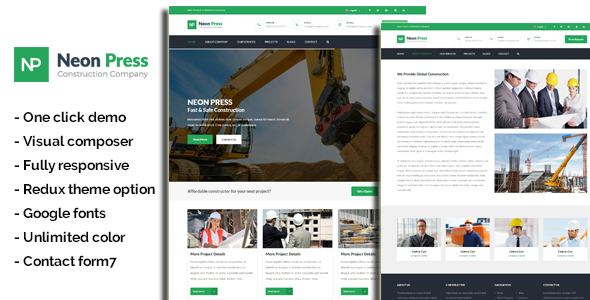 Download Neon-Press - Construction Business WordPress Theme nulled download