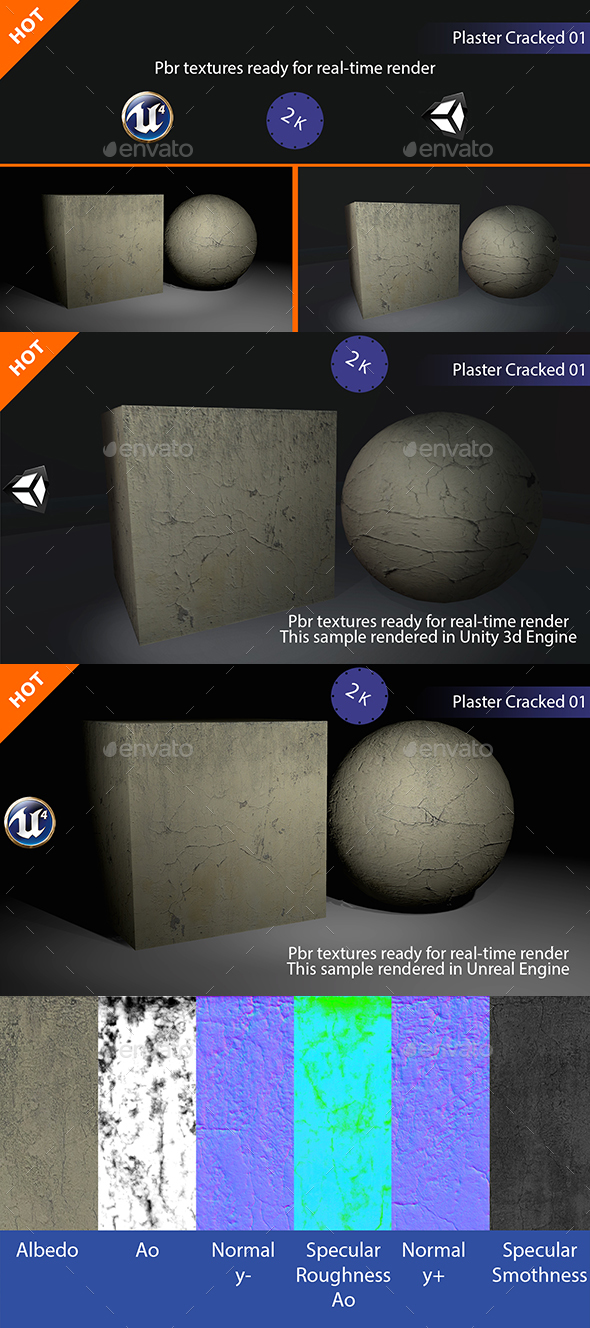 PBR Plaster Cracked 01 Texture - 3DOcean Item for Sale