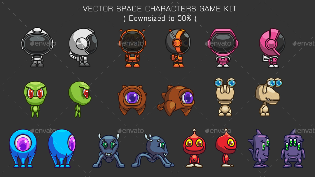vector game characters sprites bundle cartoon flying