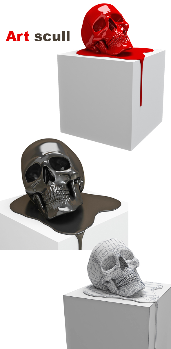 3d model of a human  art skull - 3DOcean Item for Sale