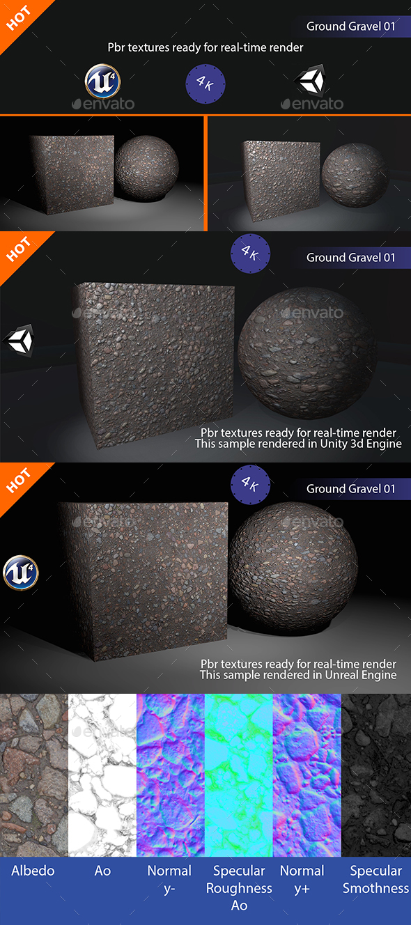 PBR Ground Gravel 01 Texture - 3DOcean Item for Sale
