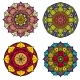 Color Mandalas Indian and Chinese Floral Vector