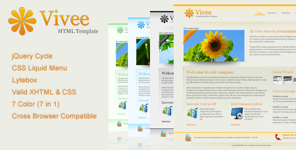 Vivee - Clean Business Web Template - 7 Color - Business Corporate
