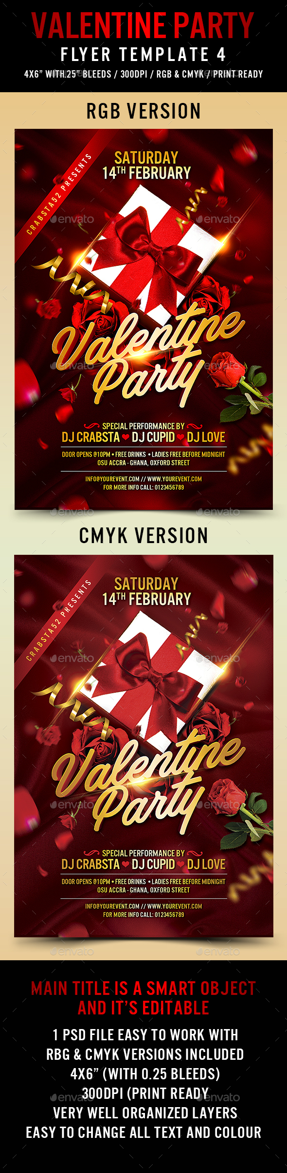 Valentine Party Flyer Template 4