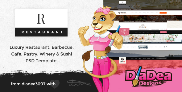 R Restaurant - Luxury, Barbecue, Cafe, Pastry, Winery & Sushi PSD Template
