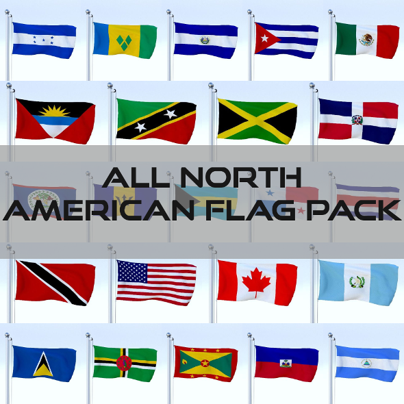 All North American Flag Pack - 3DOcean Item for Sale