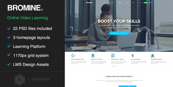 Bromine - Online Learning Platform PSD template