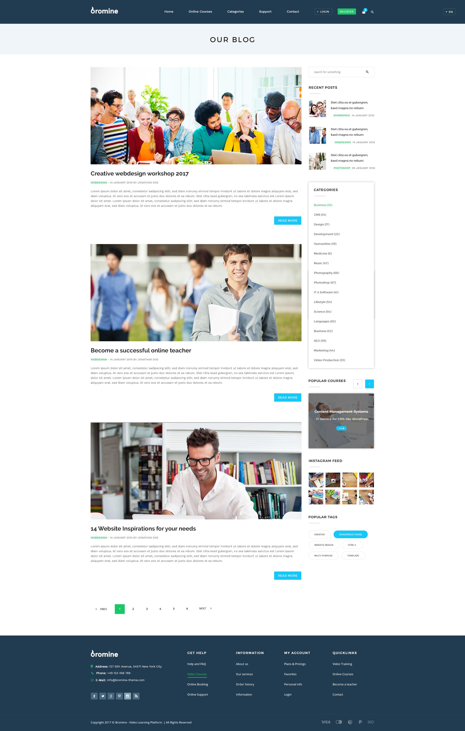 Bromine - Online Learning Platform PSD template by KL-Webmedia ...