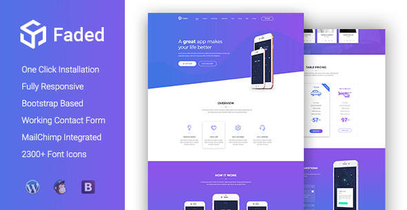 Download Faded - Responsive App Landing Page WordPress Theme nulled download