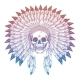 Colorful Skull in Native American Headdress