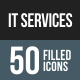 IT Services Flat Round Corner Icons