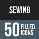 Sewing Flat Round Corner Icons