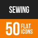 Sewing Flat Round Icons
