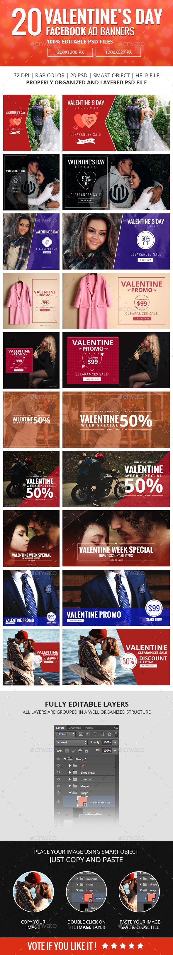 Facebook Ad Banners for Valentines Day Vol-02