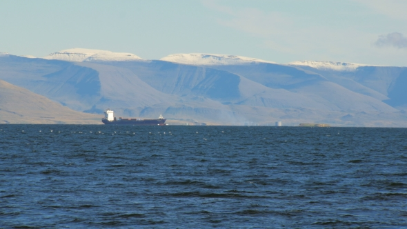 VideoHive Trawler in Atlantic Ocean Near Coast of Reykjavik Snow on the Top of Mountain 19274365