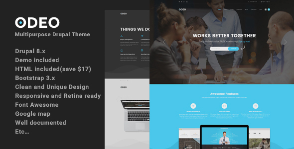 Download Odeo - Multipurpose Fast Performance Drupal 8 Theme