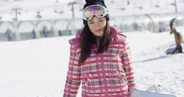 VideoHive Cute and Happy Female Asian Snowboarder 19274724