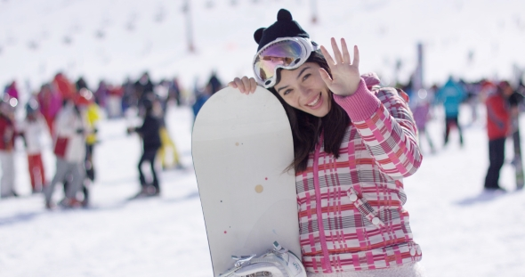 VideoHive Woman with Snowboard Relaxing on Holiday 19274740