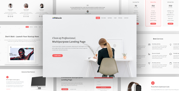 Download Vakavia - Multipurpose Landing Page Template nulled download