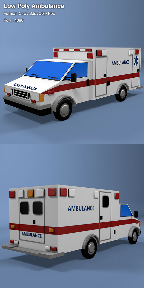 3DOcean Low Poly Ambulance 19275136