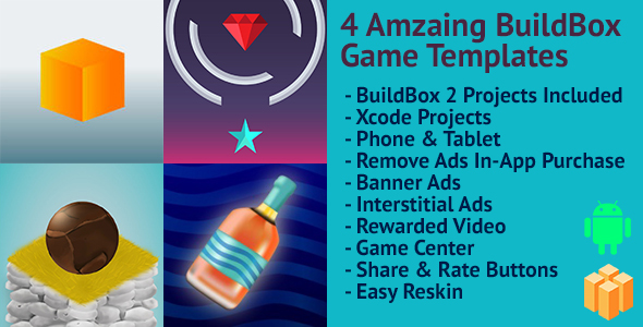 Download 4 Amazing BuildBox Game Templates (Bundle 3): Android; Easy Reskin; AdMob & RevMob Ads & IAP nulled download