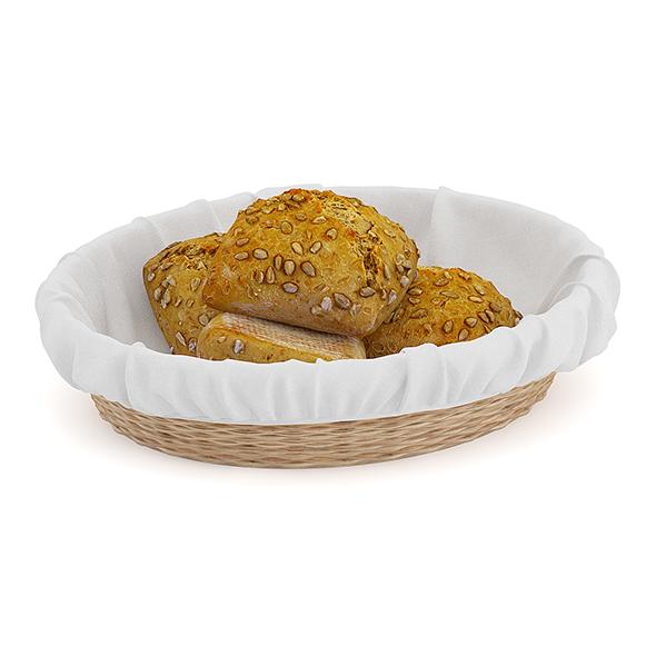 Dark Buns in Wicker Basket - 3DOcean Item for Sale