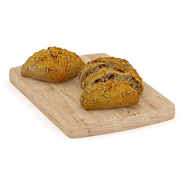Dark Buns on Wooden Board - 3DOcean Item for Sale