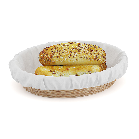 Buns with Sesame Seeds in Wicker Basket - 3DOcean Item for Sale