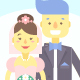 9 Wedding Couples with Flat Characters