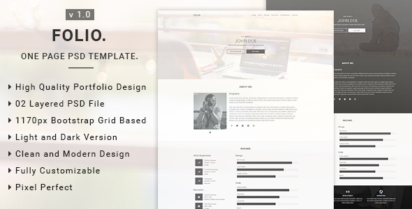Folio - One Page PSD Template