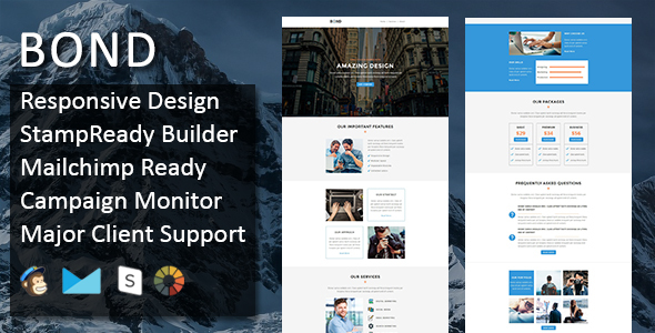 Download Bond - Multipurpose Responsive Email Template + Stampready Builder nulled download