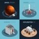 Rocket Space Isometric Icon Set