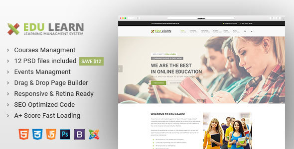 EduLearn - Education, School & Courses Joomla Template