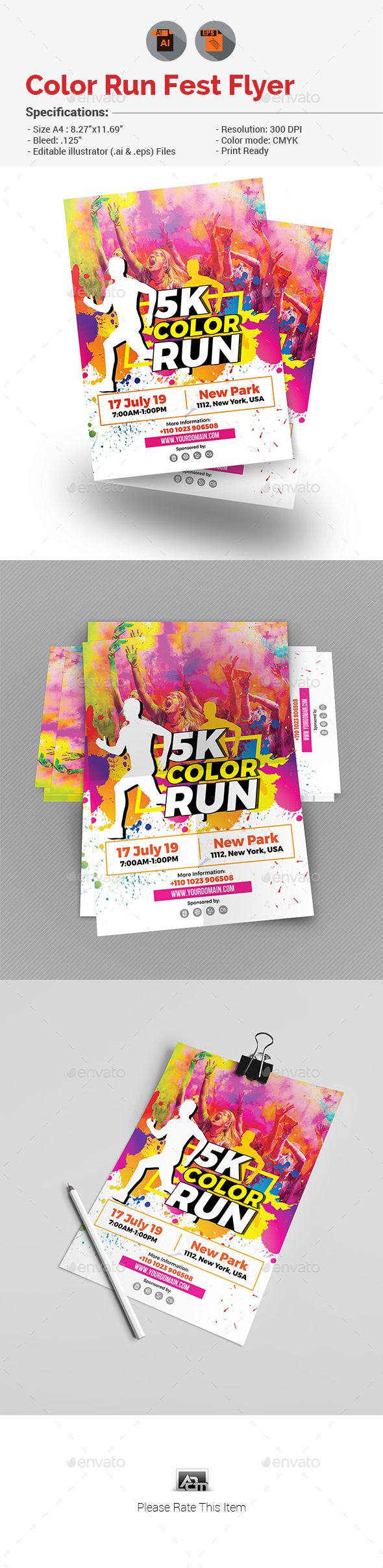 Graphicriver Color Run Flyer 19279521